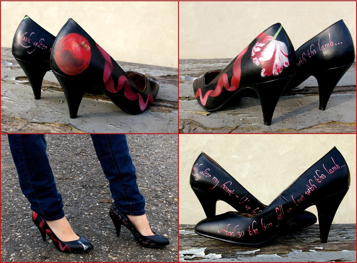 Hand painted high heel shoes - 'Vampire'