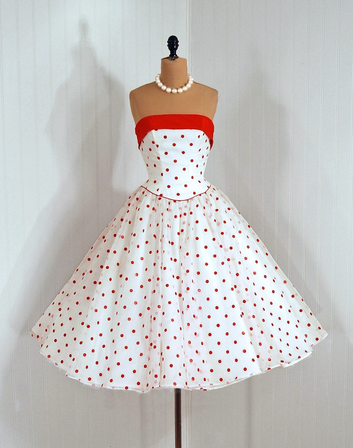 Reserved for donaghyestates 1950's Vintage Polka-Dot Red and White Sheer Chiffon-Print Designer-Couture Strapless Nipped-Waist Rockabilly Princess Circle-Skirt Bombshell Backside Sash-Bow Train Ballerina-Cupcake Wedding Party Prom Cocktail Dress