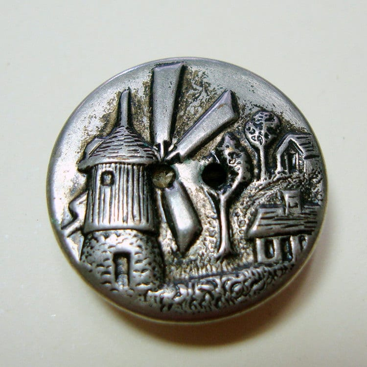 Stamped Metal Button, Picture Button, Windmill, Vintage Button, OCa82
