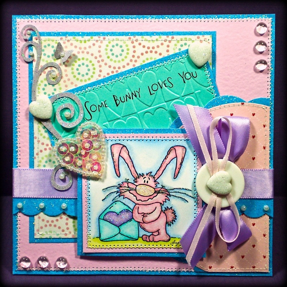 Handcrafted Greeting Card Some Bunny Loves by BrossARTaddiction from etsy.com