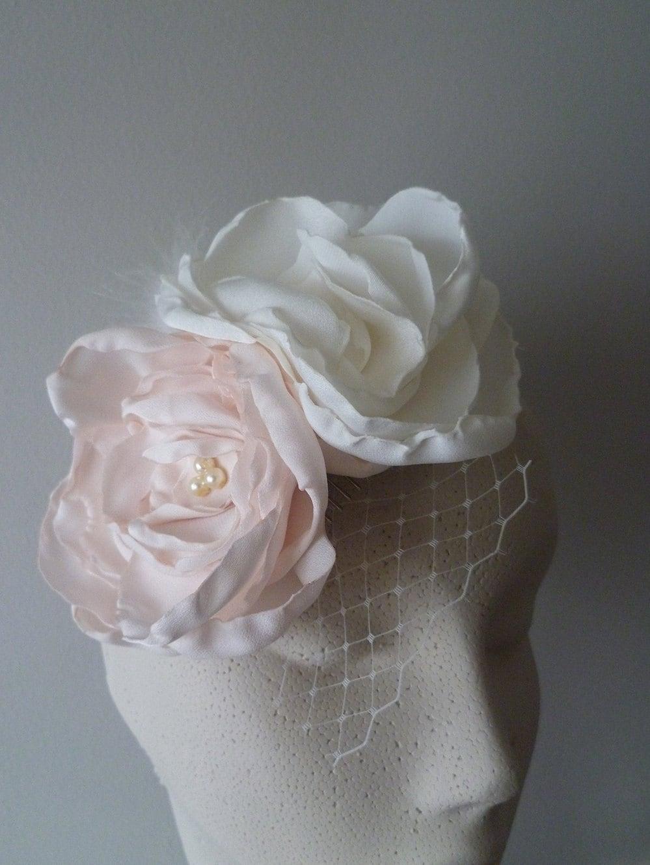 bridal hair accessory flower hairpiece pink ivory - theweddingparlour