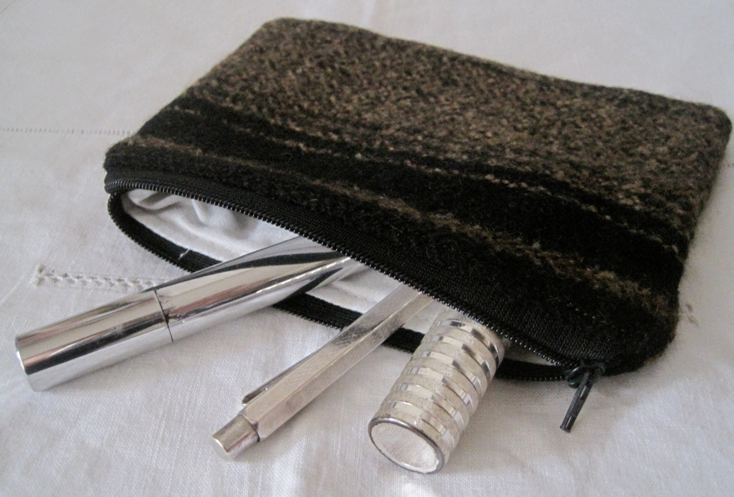 Handmade Recycled Brown Black Soft Pouch