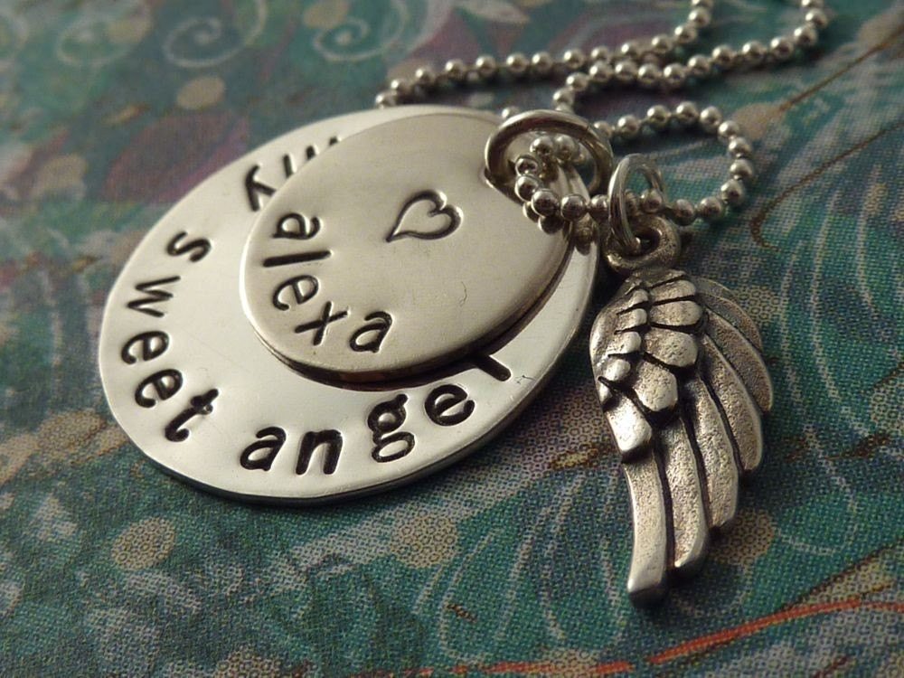Silver Angel Wing Charm Personalized Necklace in Sterling with Baby Name