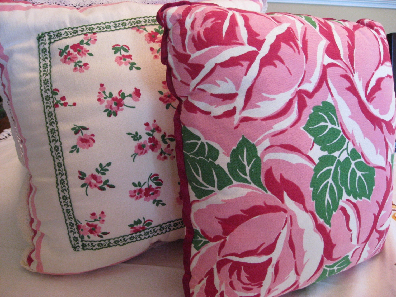 Pair of Sweet Pink Roses Cottage Style Pillows