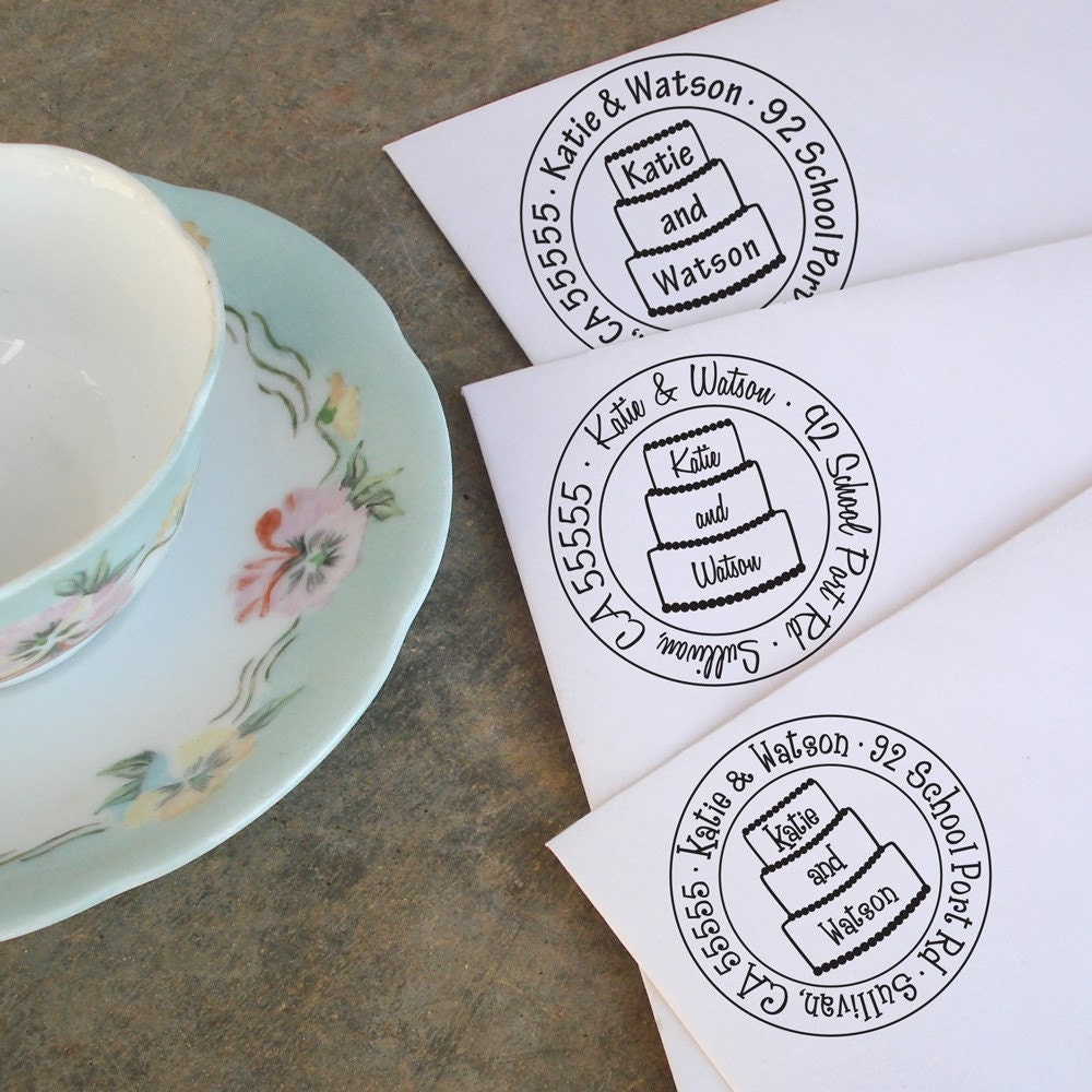 Let Them Eat Cake Wedding Address Stamp