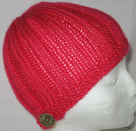 Fabulous Fuschia Hand Knit Hat with Gold Tone Button