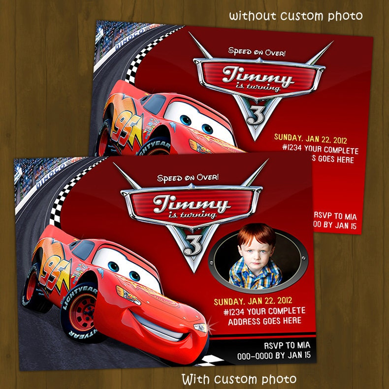 Disney CARS Lightning Mc Queen Invitation By