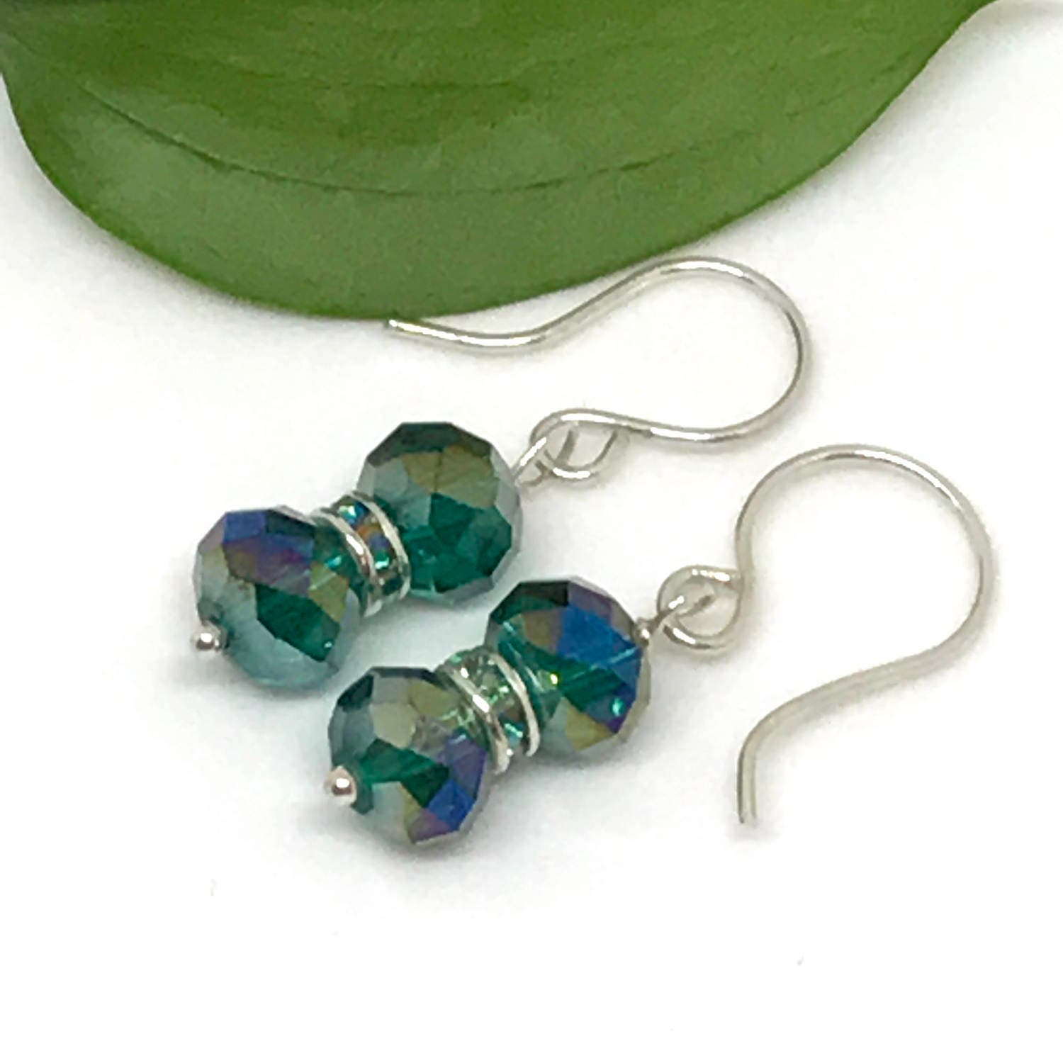 Green Earrings Sterling Silver Emerald Green Gift For Her