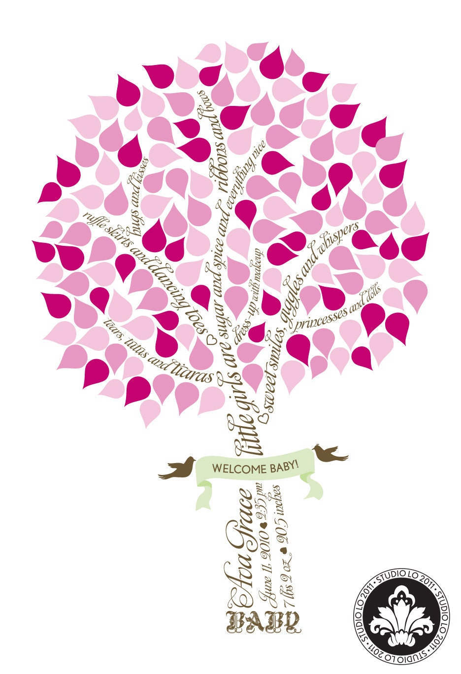 items similar to signature baby shower tree baby girl guest book