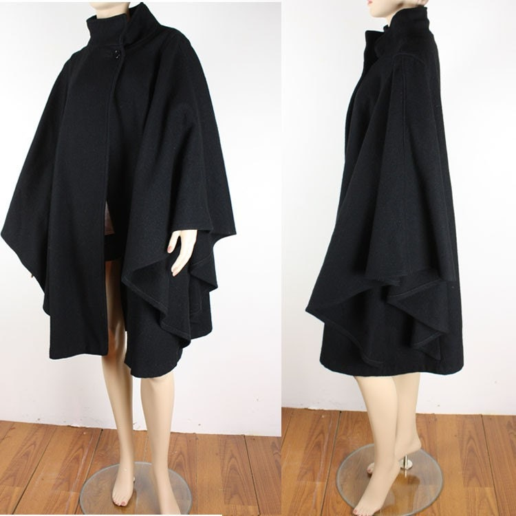 Vintage 80s Black Batwing Wool Cape Coat