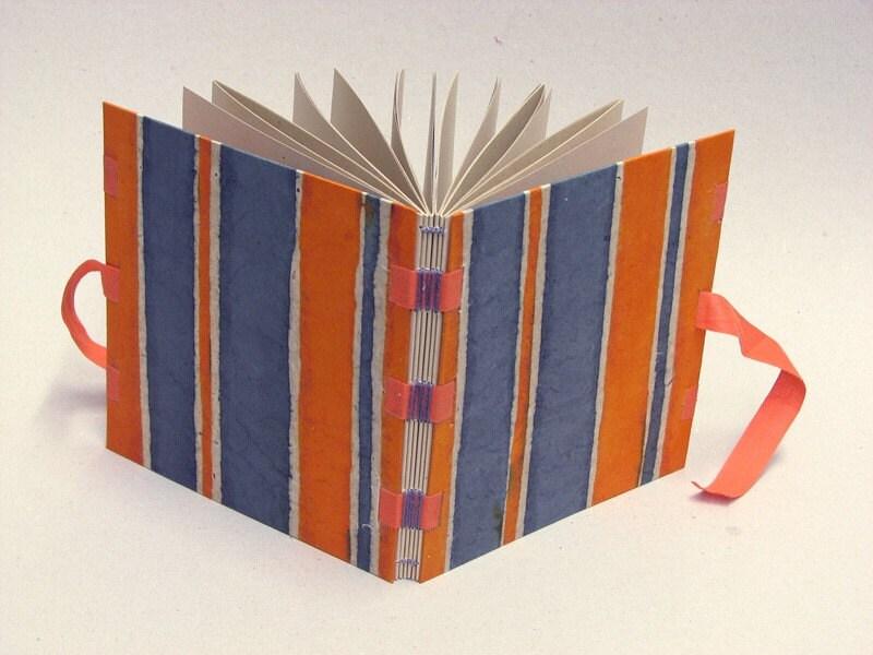 orange stripes - ribbon sewing journal