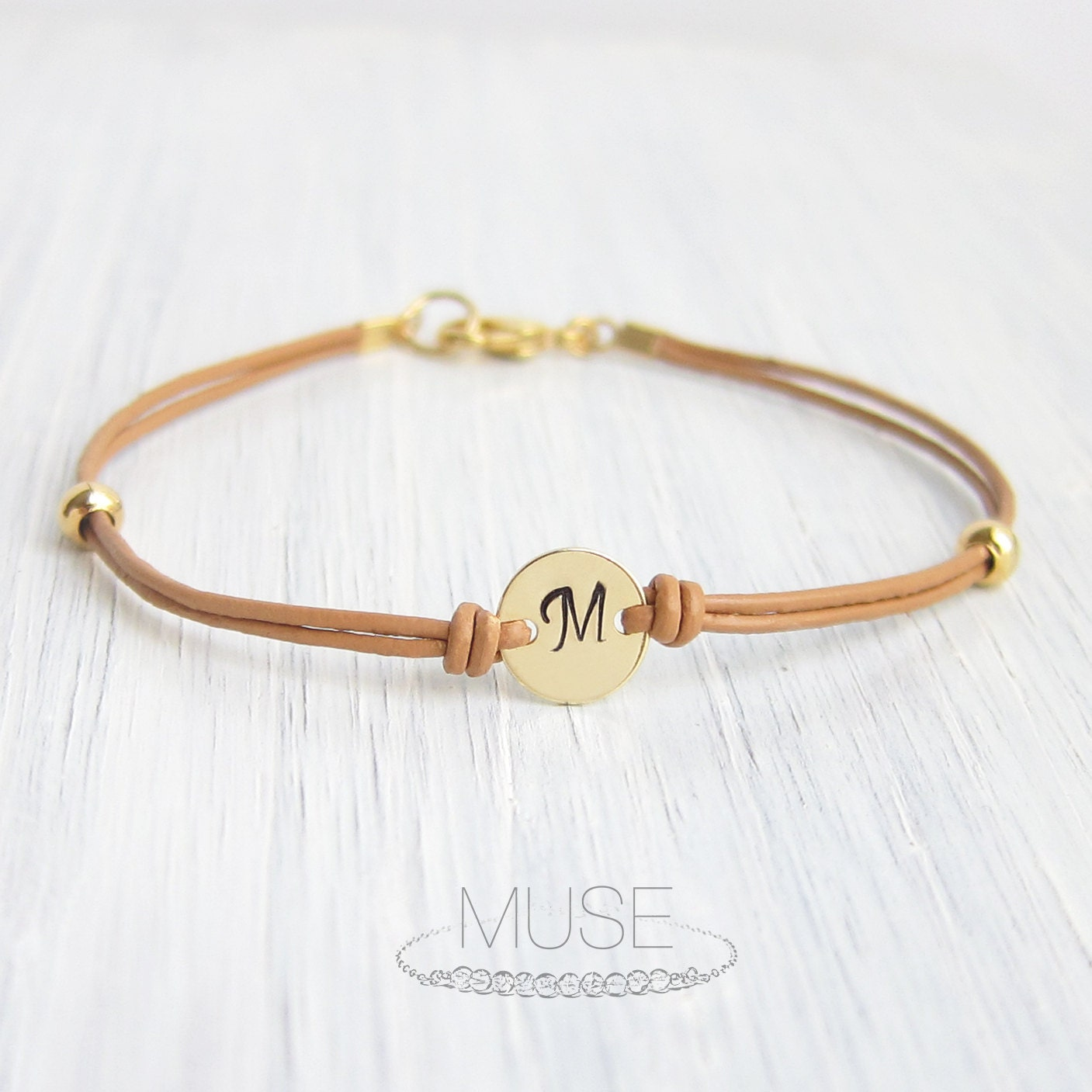 monogram leather bracelet personalized initial by musebylam