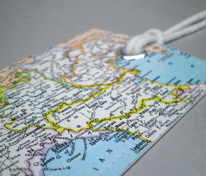 Northern Italy vintage map luggage tag for your travels