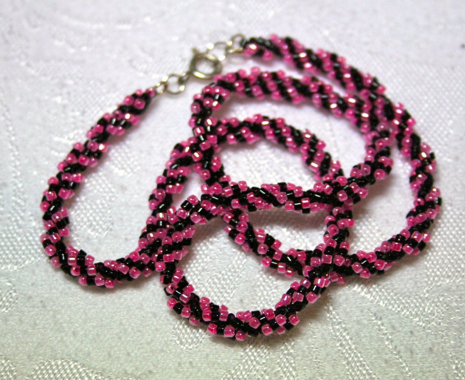 Pink and Black Spiral Beadwoven Choker Necklace