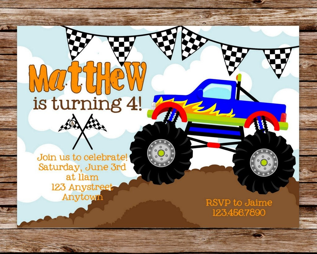 Terrible image in monster truck birthday invitations free printable