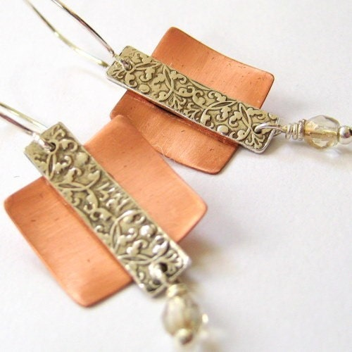 Baroque Fine Silver and Copper Earrings