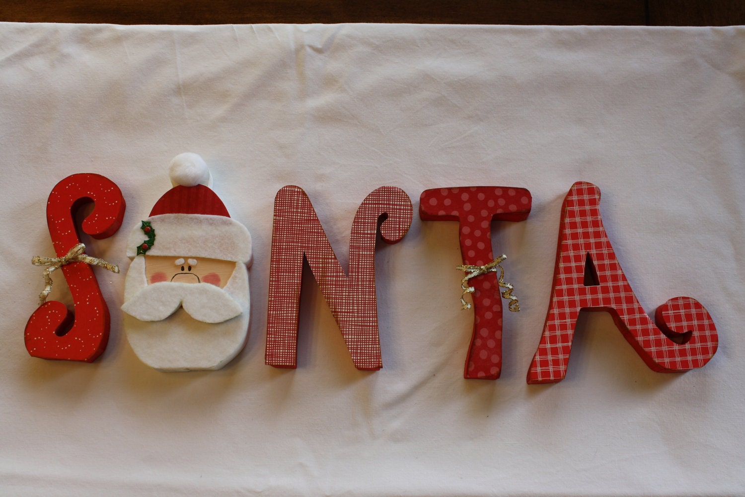 "Santa unfinished wood word to decorate you home for the season (8"" tall)"