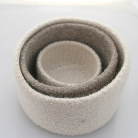 Felted wool nesting bowls- oatmeal and winter white