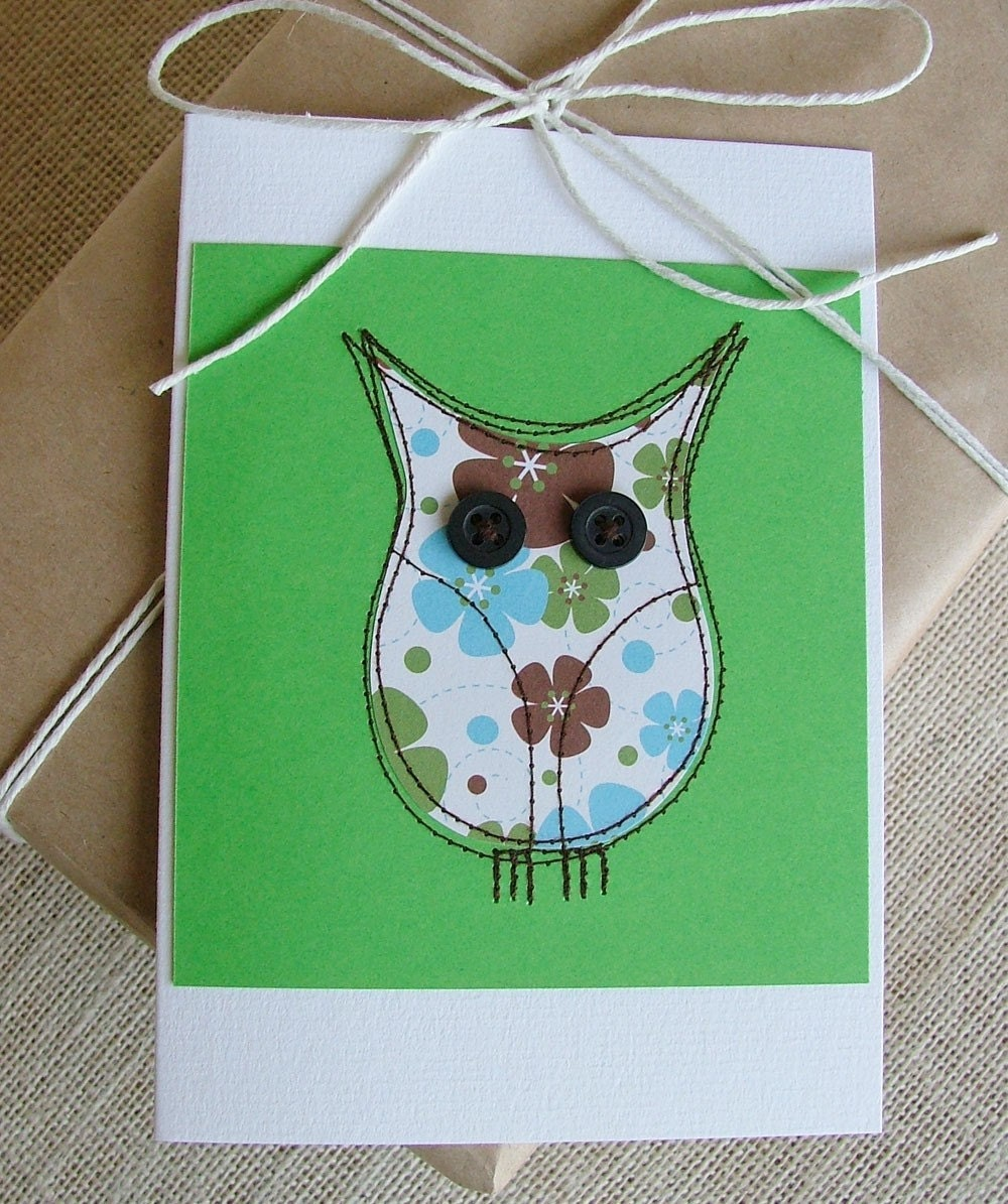 Green hooter.... a sweet owl card in bright green