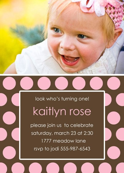 Polka Dotty - Pink Photo Birthday Invitation