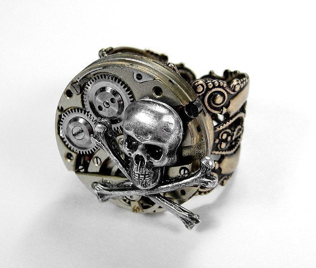 Steampunk Ring - BOLD CHAMPAGNE Segmented Vintage Watch Movement with SKULL and BONES  - UNIQUE GEAR WORK on Adjustable Brass Filigree Ring - MUST HAVE - MUST CHECK THIS OUT....EXCLUSIVELY Offered by edmdesigns