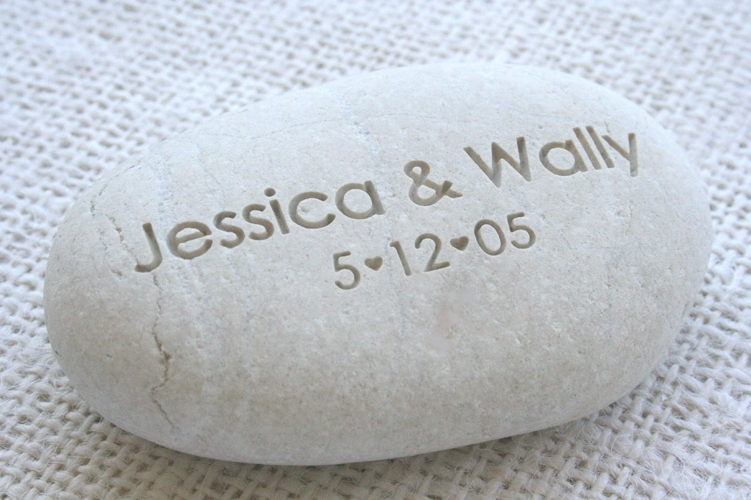 White oathing stone - Custom Engraving for engagement, wedding or anniversary - wedding pebbles