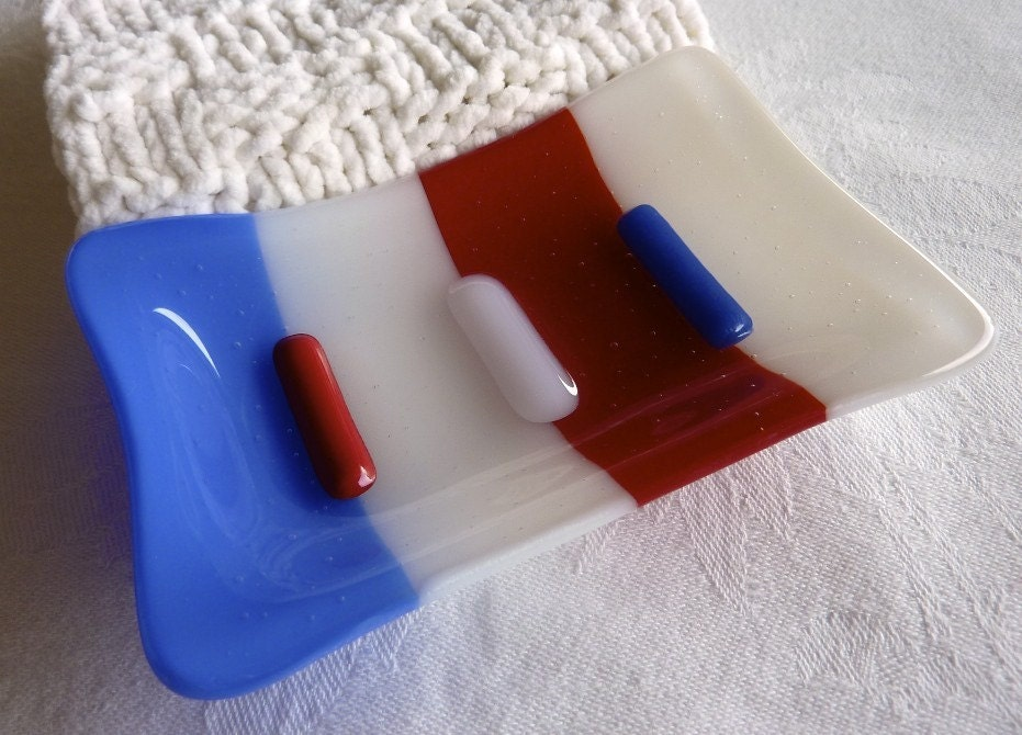 Red, White and Blue Glass Soap Dish