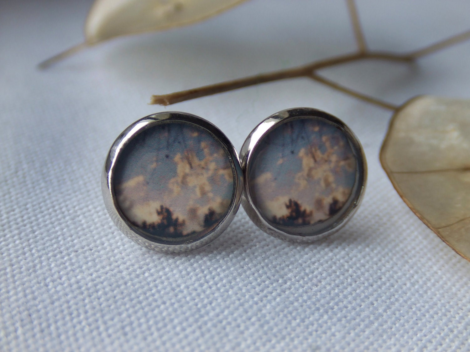 Ludington Clouds Photo Earring Studs. Sterling Silver