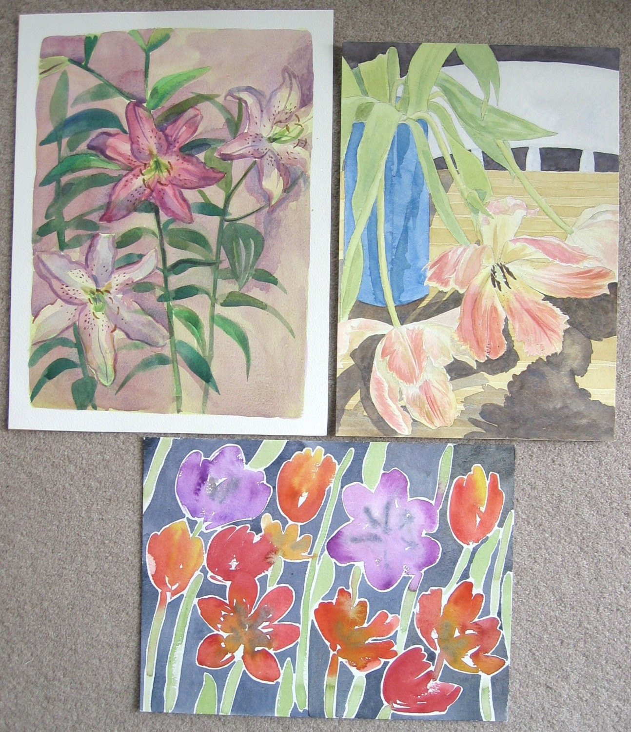 3 Original Watercolour Still Life paintings