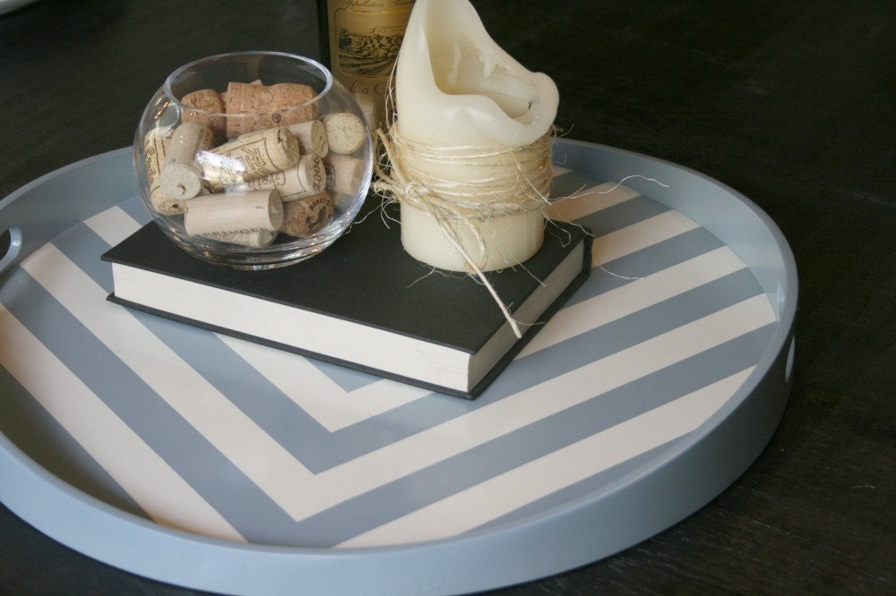 Grey and White Chevron Wood Tray