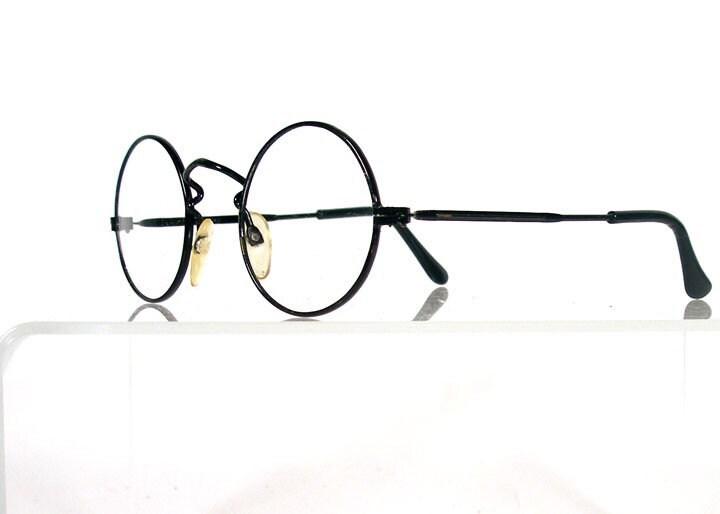 Vintage Black Wire Round Eyeglass Frames