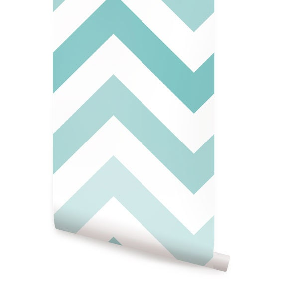 Chevron Teal Peel Stick Fabric Wallpaper By Accentuwall