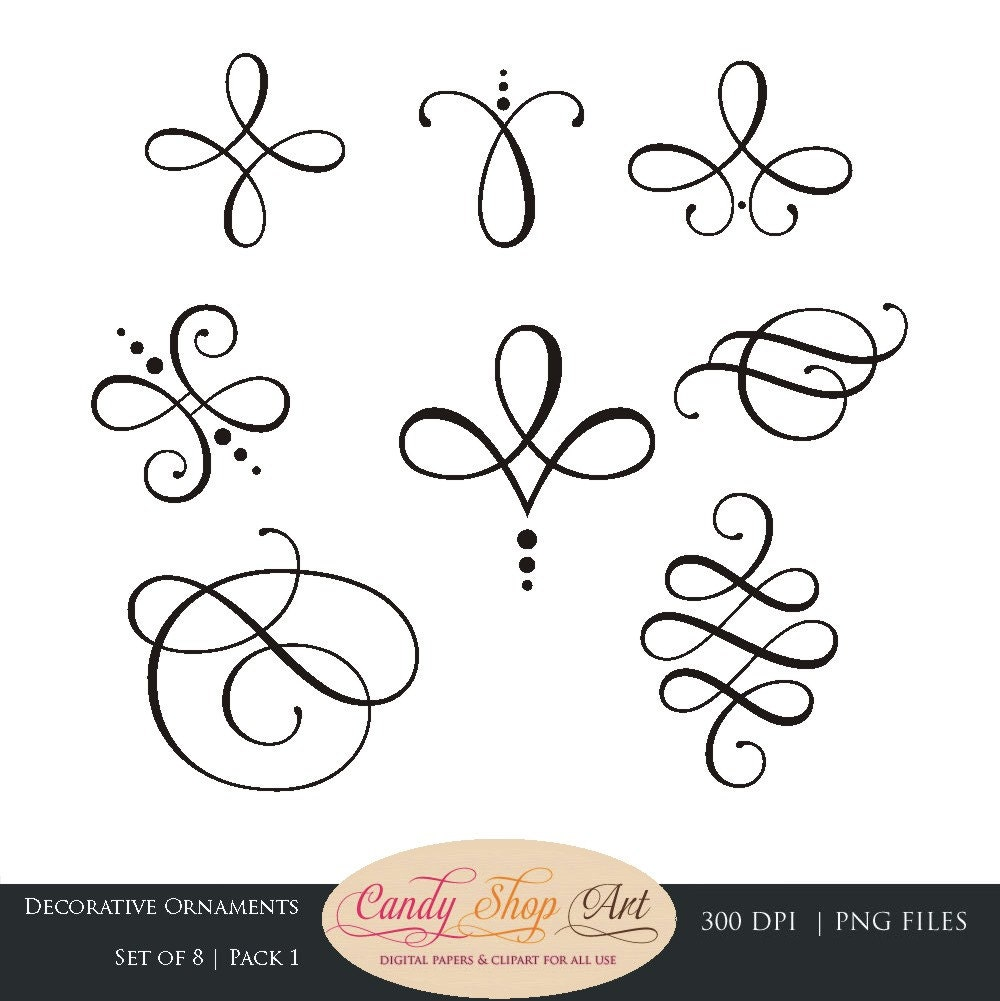 Instant Download Calligraphy Ornaments by CandyShopDigitalArt
