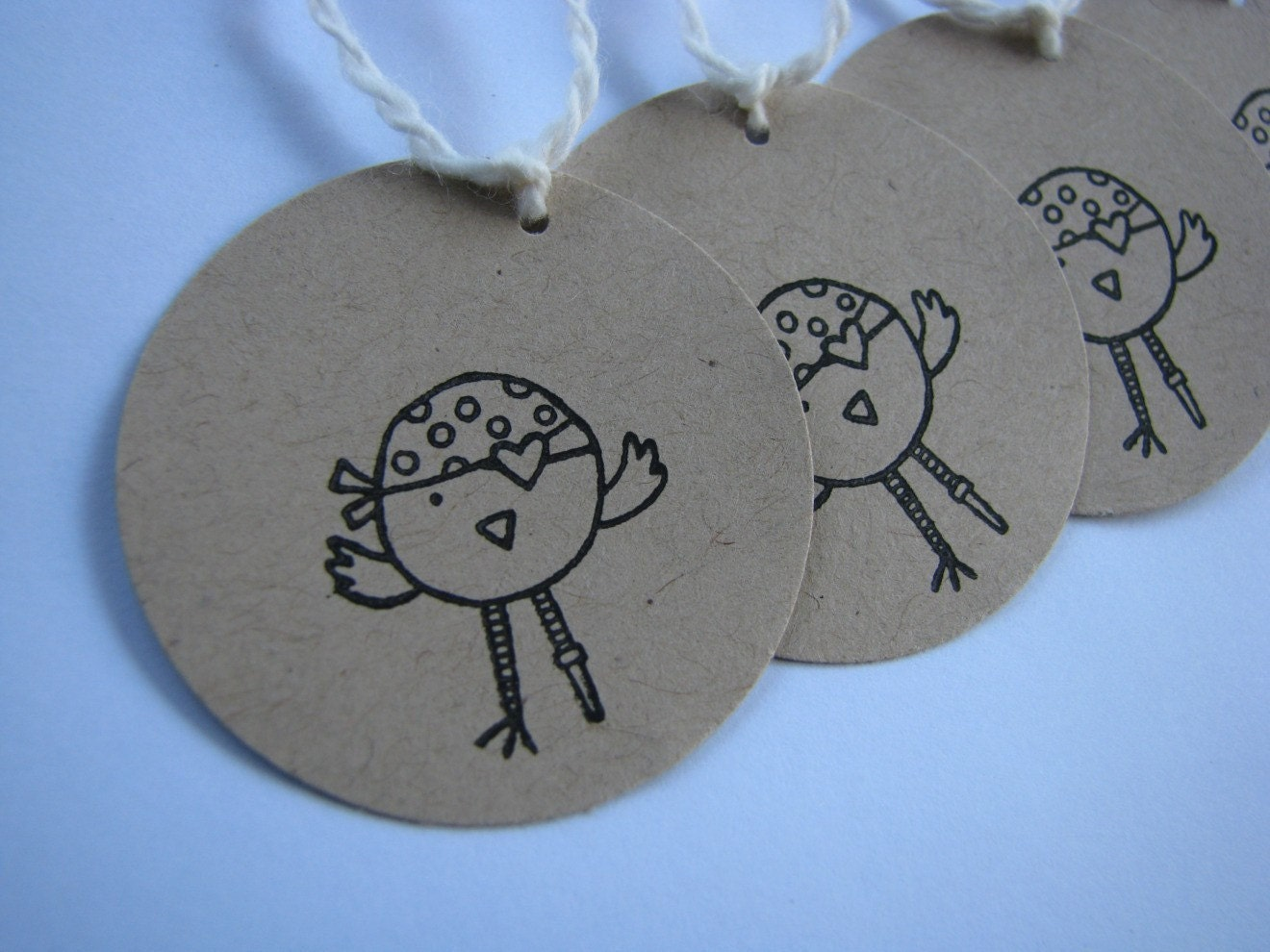 Tiny Brown Paper Tags - pirate birdie