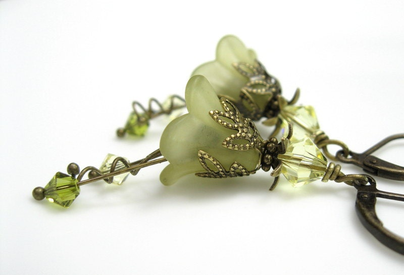 Light Olivine, Flower Earrings, Swarovkski, Lucite, Fashion, Antiqued Brass