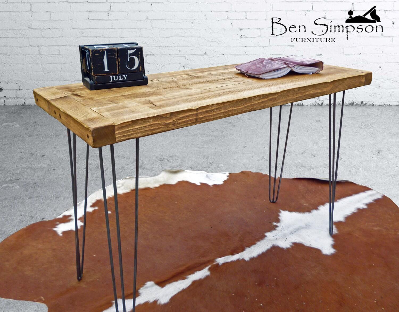 Rustic Desk Chunky Solid Wood Sideboard Dressing Table Metal Hairpin Legs Handmade Bespoke Desk (Height 72cm)