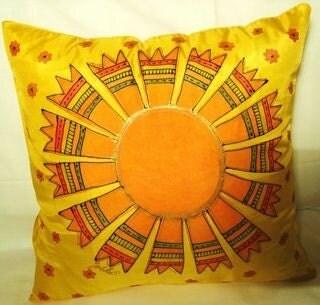 Hand painted pillow  Sun