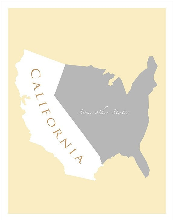 11x14 - Map of U.S. featuring California - print