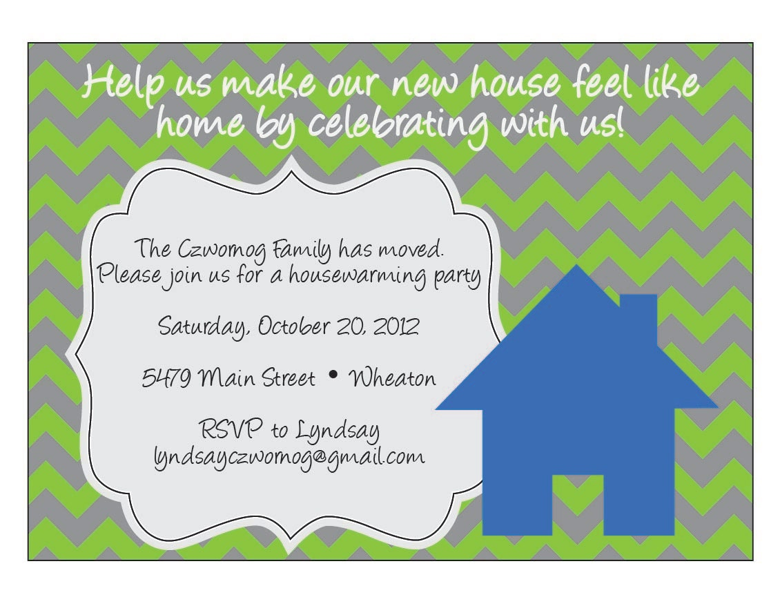 Chevron housewarming invitation by elsypaper on etsy for Housewarming party message