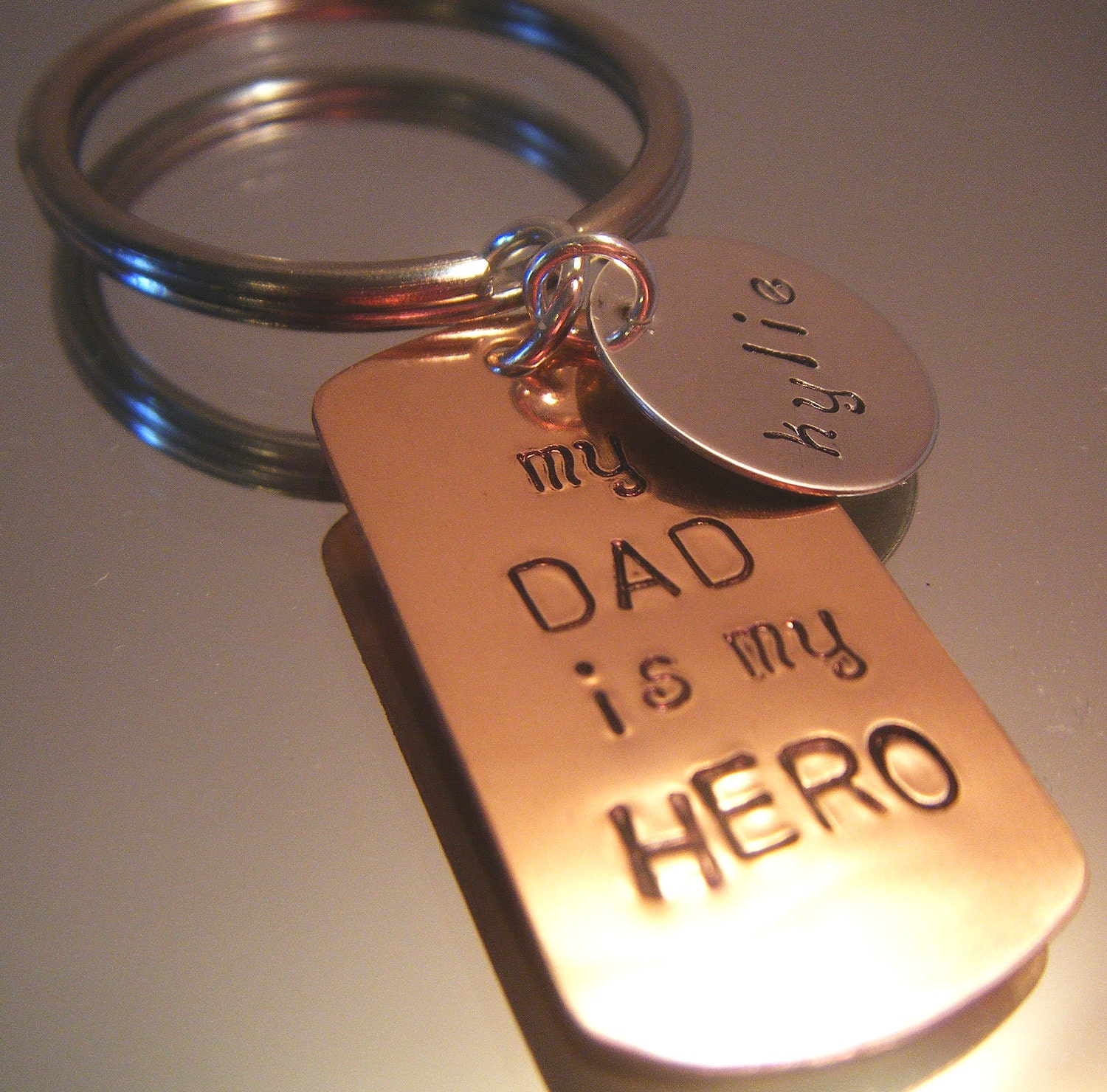 Hand Stamped Jewelry Personalized For Him Fathers Day Dog Tag Keyring - BeeBaublesJewelry