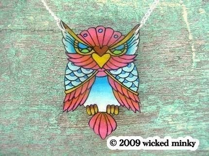 big vintage tattoo lucky pink and blue owl necklace. From wickedminky