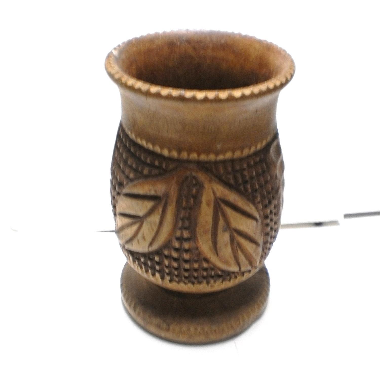 Wooden Vase Hand Carved Wood Urn Ethnic Tribal By Vintagecarolina