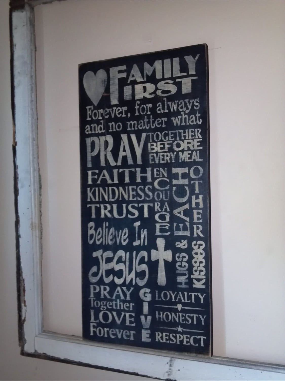 Family First Subway Art  Large Wall Hanging Wood Sign