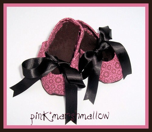 Boutique Pink and Brown Baby Custom Cloth Shoe