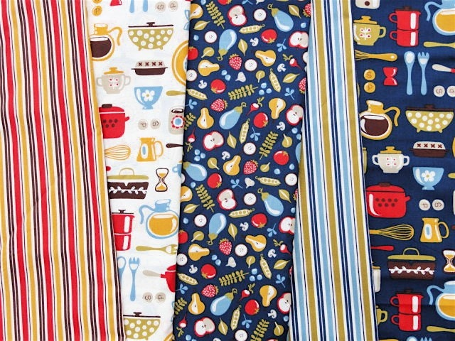Price Drop: 5 Fat Quarter Set Helen Dardik Mod Kitchen