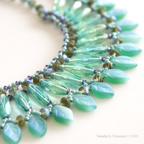 Free Shipping - Turquoise,  Purple and Green Leafs Necklace