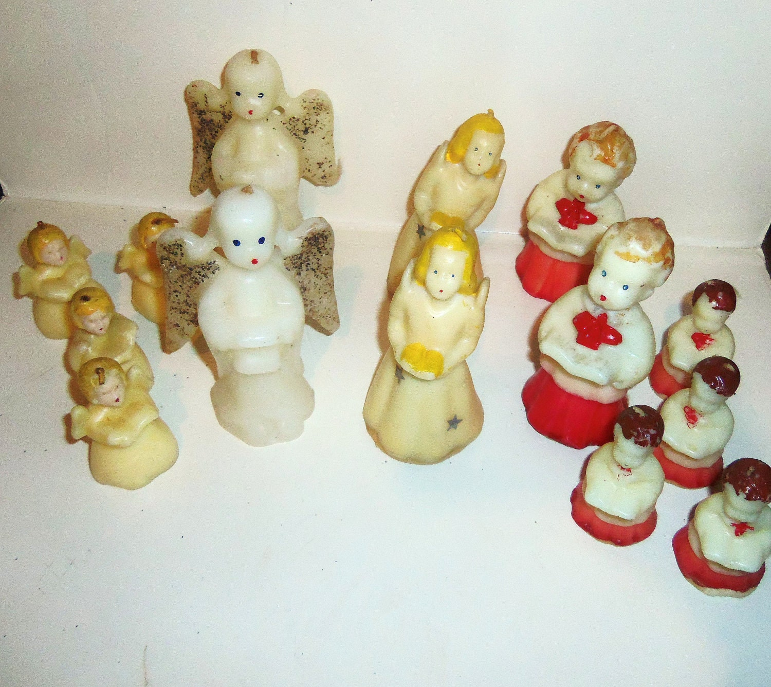 Vintage Christmas Candle Lot Tavern Gurley Angel Choir By Avaricia