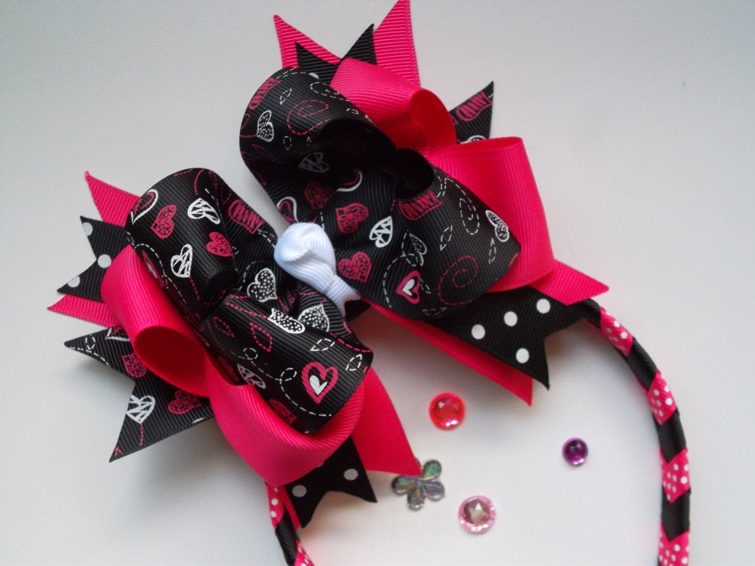 Big Black and Pink Valentines Bow and Polka Dot Head Band Bow Set - ransomletterhandmade