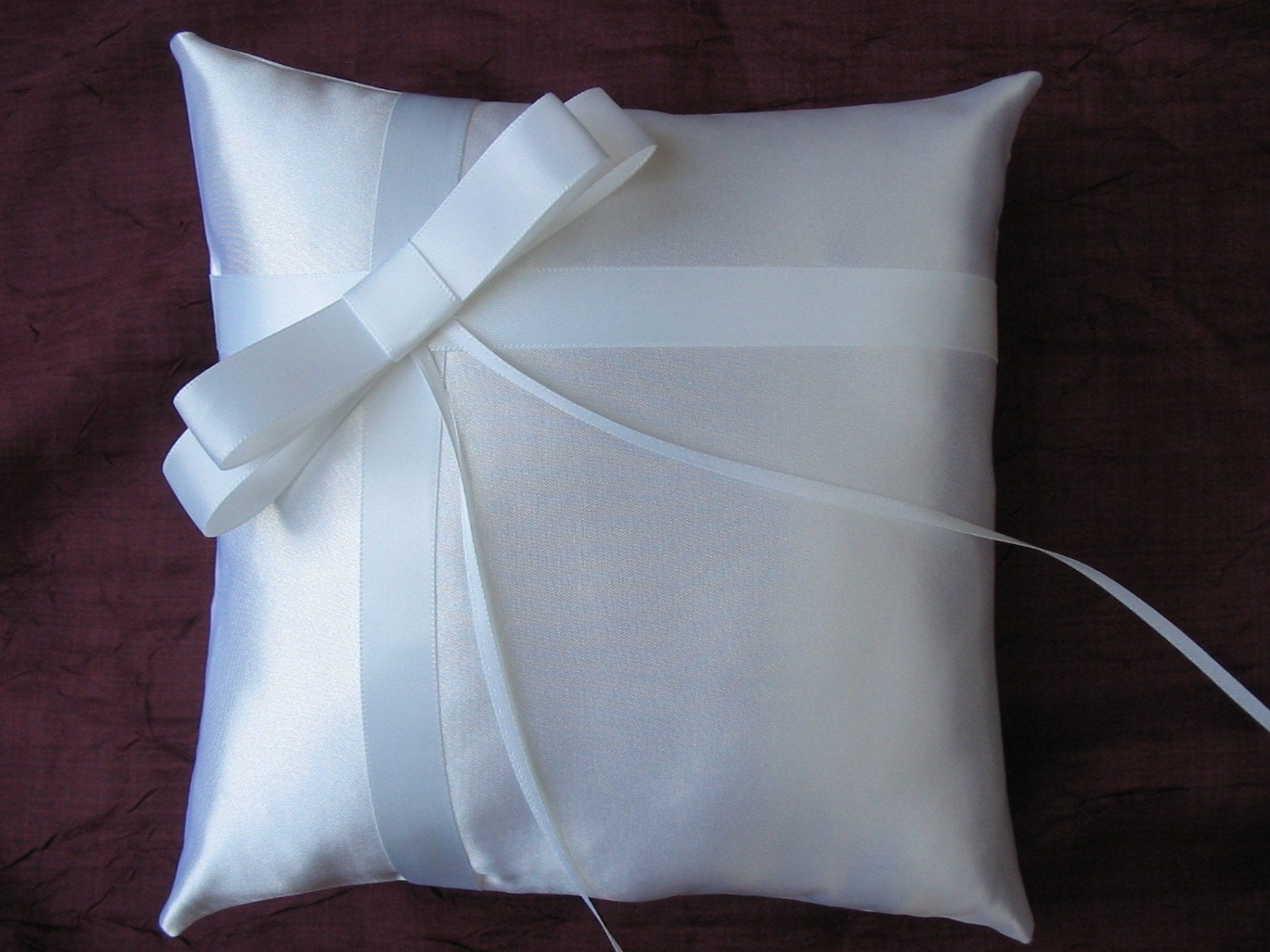 WHITE Satin Wedding Ring Bearer Pillow w/ Bow