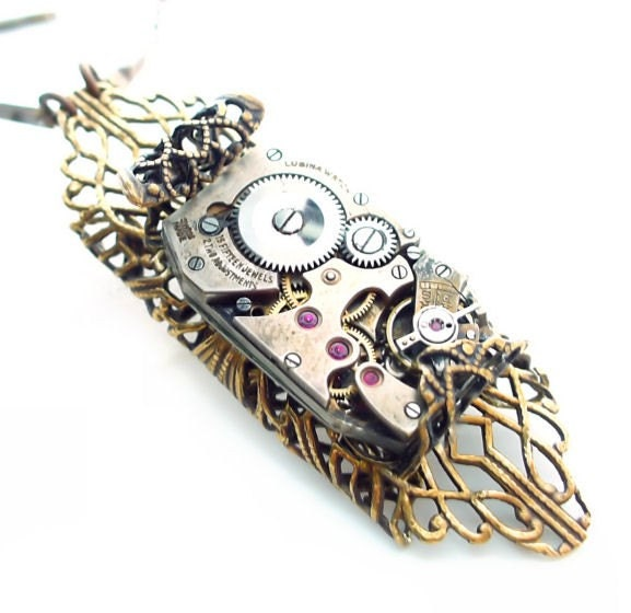 Steampunk Towers of Time Jewelry Necklace by Vintage Filigree Jewelry
